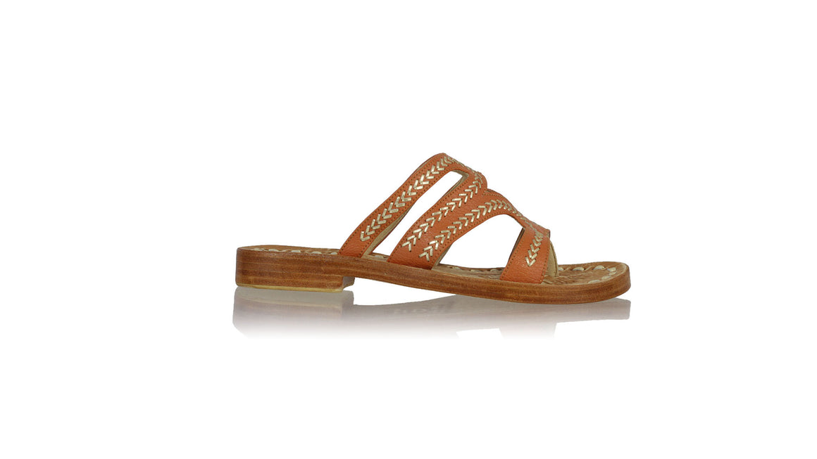 leather shoes Suri 20mm Flats - Orange & Gold, sandals flat , NILUH DJELANTIK - 1