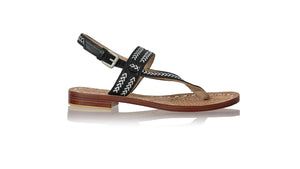 leather shoes Timika 20mm Flats - Black & Silver, sandals flat , NILUH DJELANTIK - 1