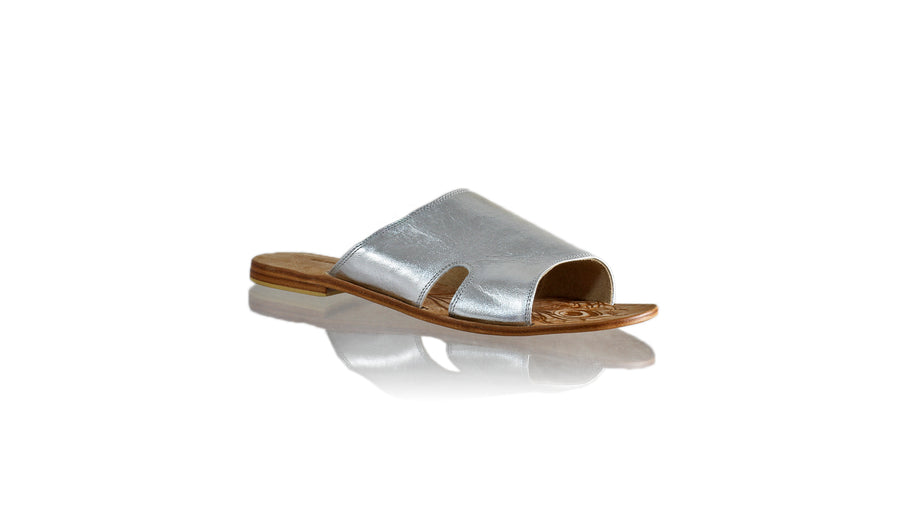 Leather-shoes-Vira 20mm Flat - Silver-sandals flat-NILUH DJELANTIK-NILUH DJELANTIK