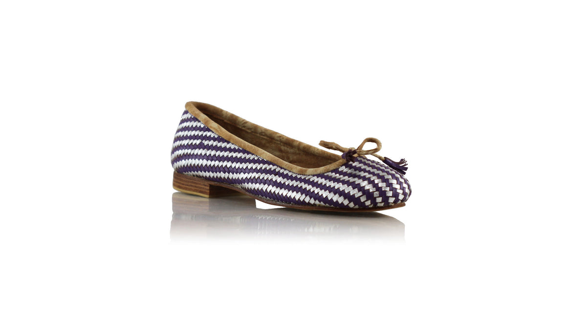 leather shoes Vivi With Tassel 20mm Ballet - Purple & Silver, flats ballet , NILUH DJELANTIK - 1