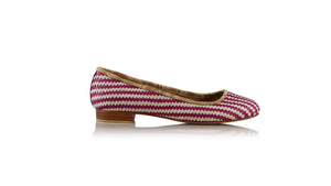leather shoes Vivi Without Tassel 20mm Ballet - Ivory & Fuschia, flats ballet , NILUH DJELANTIK - 1