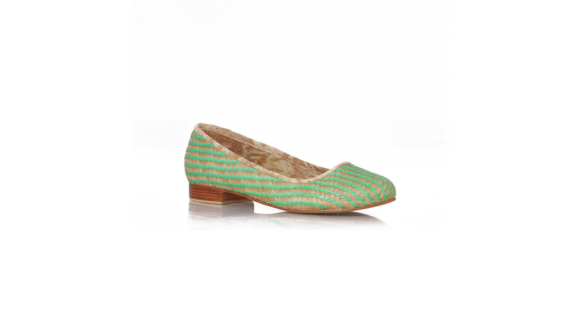 leather shoes Vivi Without Tassel 20mm - Woven Brown Green, flats ballet , NILUH DJELANTIK - 1