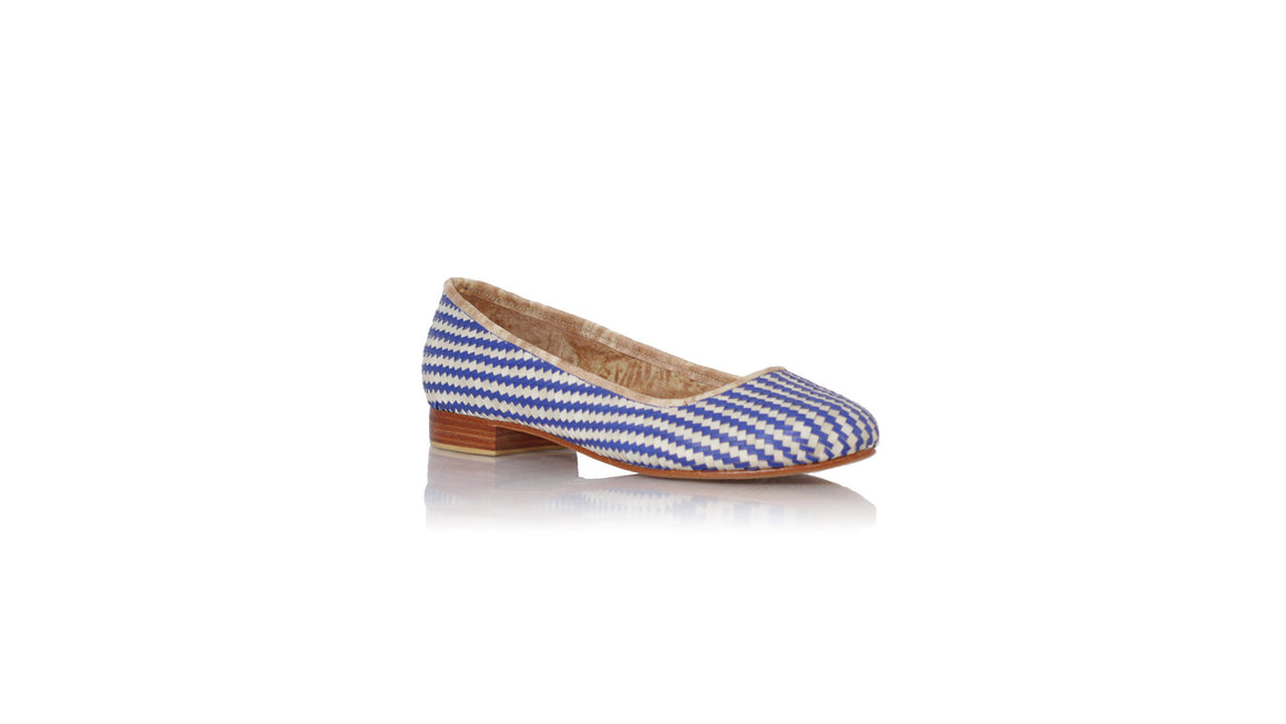leather shoes Vivi Without Tassel 20mm - Woven Ivory Blue, flats ballet , NILUH DJELANTIK - 1