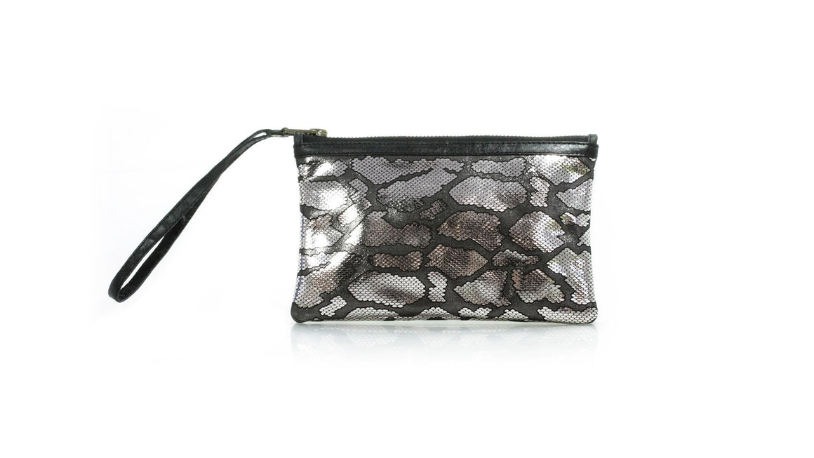 leather shoes Zipper clutch - Silver Embossed Snake leather, Zipper Clutch , NILUH DJELANTIK
