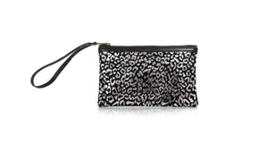 Leather-shoes-Zipper clutch - Silver Leopard pattern leather-Zipper Clutch-NILUH DJELANTIK-NILUH DJELANTIK