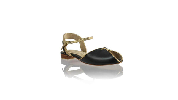 Leather-shoes-Agnes 20mm Flat - Black & Gold-sandals flat-NILUH DJELANTIK-NILUH DJELANTIK