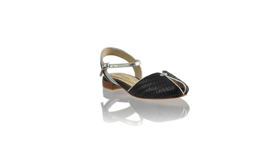 Leather-shoes-Agnes Woven 20mm Flat - Black & Silver-sandals flat-NILUH DJELANTIK-NILUH DJELANTIK