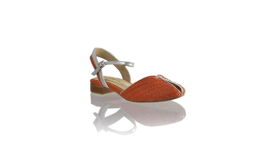 Leather-shoes-Agnes Woven 20mm Flat - Orange & Silver-sandals flat-NILUH DJELANTIK-NILUH DJELANTIK