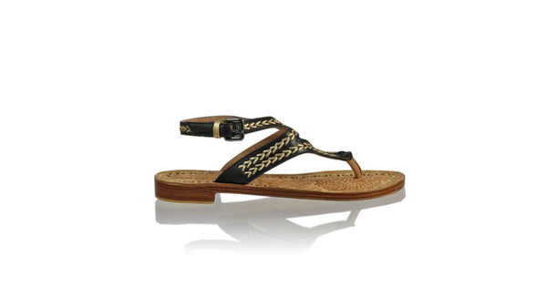 Leather-shoes-Agra 20mm Flats - Black & Gold-sandals flat-NILUH DJELANTIK-NILUH DJELANTIK