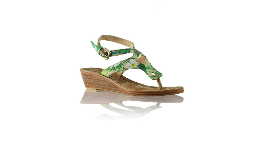 Leather-shoes-Agra 35mm Wedges - Multicolour Forest-sandals wedges-NILUH DJELANTIK-NILUH DJELANTIK