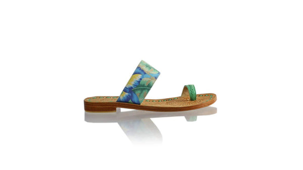 Leather-shoes-Arini 20mm Flat - Aqua & Blue Twill Cotton-sandals flat-NILUH DJELANTIK-NILUH DJELANTIK