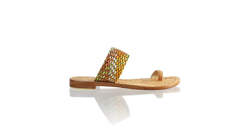 Leather-shoes-Arini 20mm Flat - Baby Pink & Multicolor Ribbon-sandals flat-NILUH DJELANTIK-NILUH DJELANTIK