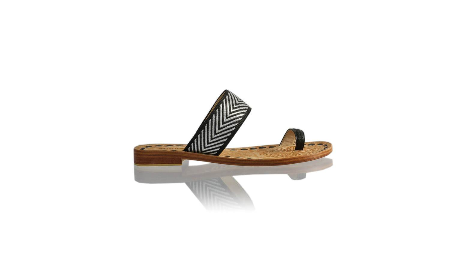 Leather-shoes-Arini 20mm Flat - Black & Black Silver Ribbon-sandals flat-NILUH DJELANTIK-NILUH DJELANTIK