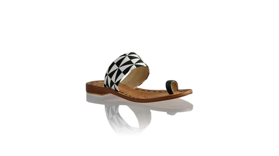 Leather-shoes-Arini 20mm Flat - Black White Triangle-sandals flat-NILUH DJELANTIK-NILUH DJELANTIK