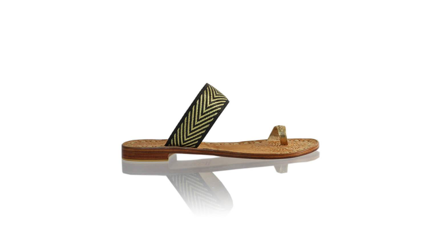 Leather-shoes-Arini 20mm Flat - Gold & Black Gold Ribbon-sandals flat-NILUH DJELANTIK-NILUH DJELANTIK