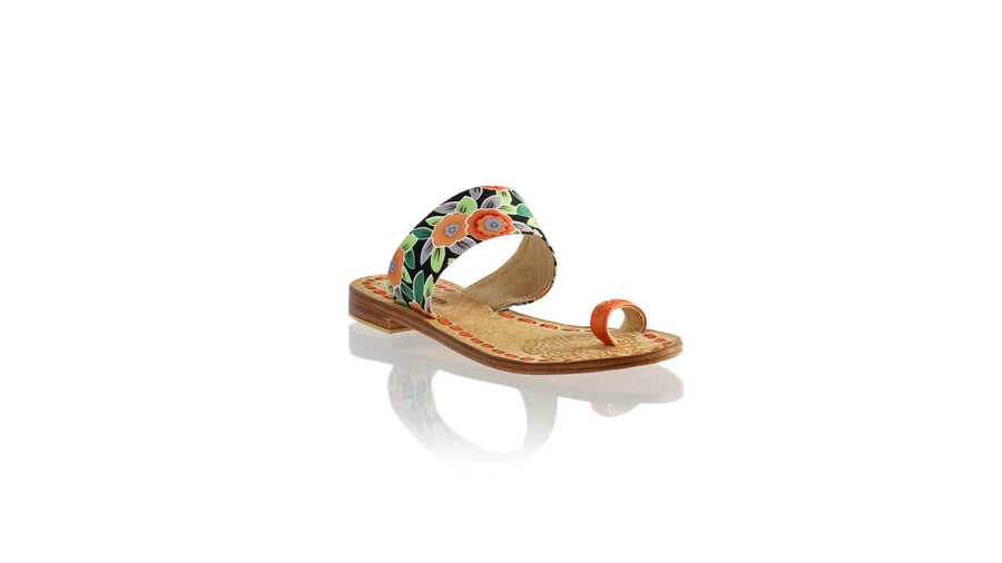 Leather-shoes-Arini 20mm Flat - Orange & Japan Orange Flower-sandals flat-NILUH DJELANTIK-NILUH DJELANTIK