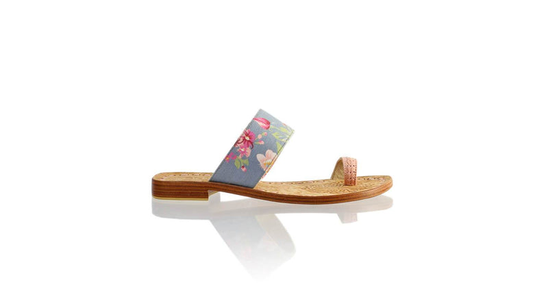 Leather-shoes-Arini 20mm Flat - Soft Pink & Grey Twill Cotton-sandals flat-NILUH DJELANTIK-NILUH DJELANTIK