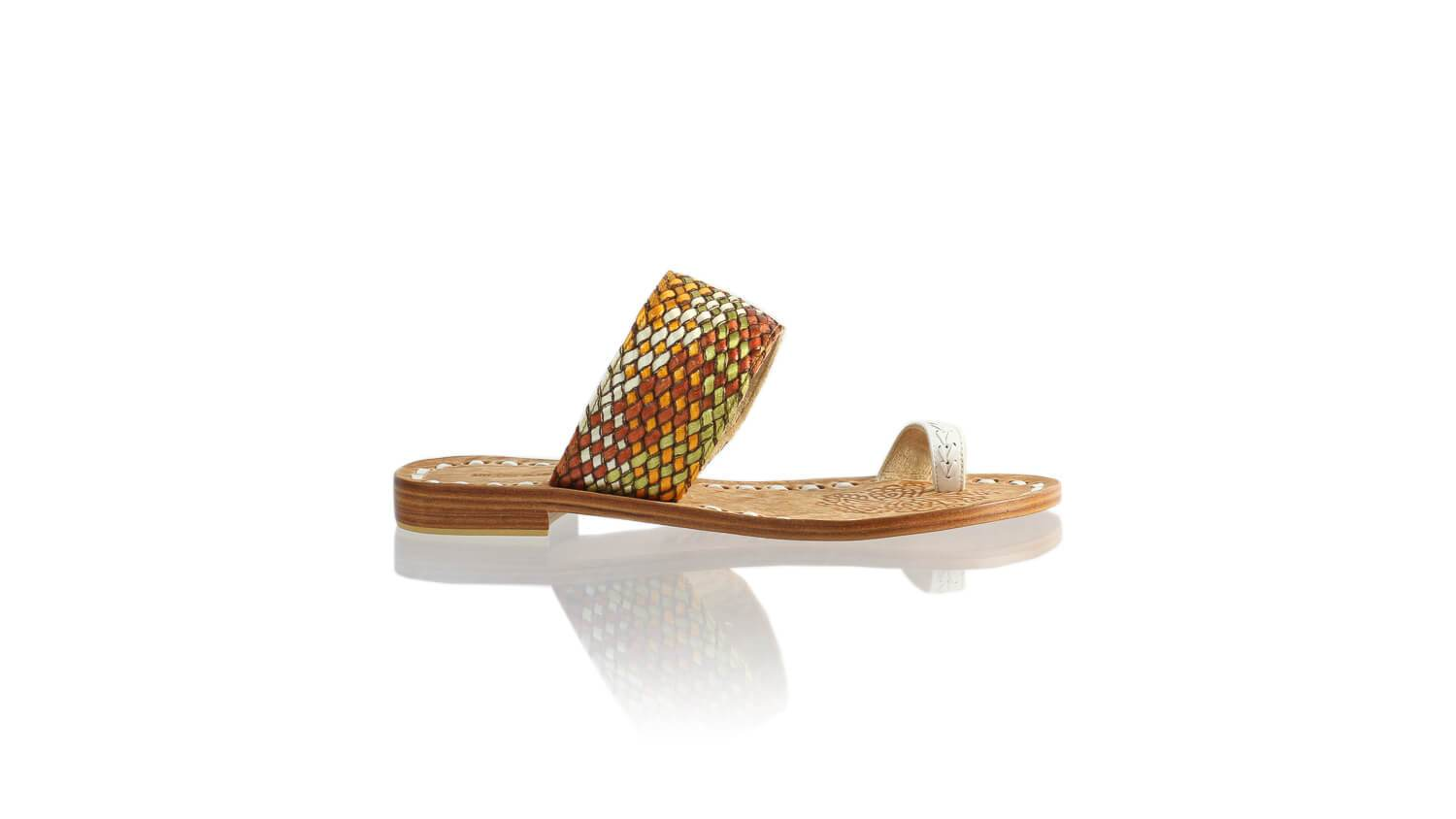 Leather-shoes-Arini 20mm Flat - White & Multicolor Ribbon-sandals flat-NILUH DJELANTIK-NILUH DJELANTIK