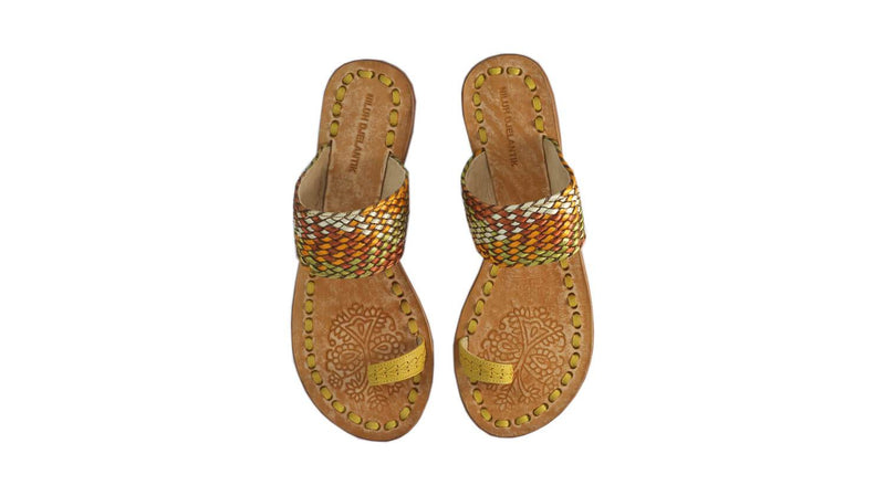 Leather-shoes-Arini 20mm Flat - Yellow & Multicolor Ribbon-sandals flat-NILUH DJELANTIK-NILUH DJELANTIK
