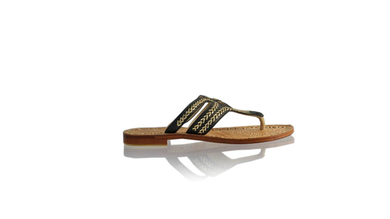 Leather-shoes-Arrah 20mm Flat - Black & Gold-sandals higheel-NILUH DJELANTIK-NILUH DJELANTIK