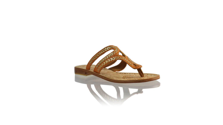 Leather-shoes-Arrah 20mm Flat - Camel & Gold-sandals higheel-NILUH DJELANTIK-NILUH DJELANTIK