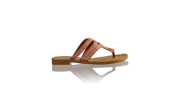 Leather-shoes-Arrah 20mm Flat - Red Guava & Gold-sandals flat-NILUH DJELANTIK-NILUH DJELANTIK