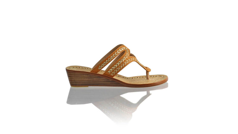 Leather-shoes-Arrah 35mm Wedges - Camel & Gold-sandals higheel-NILUH DJELANTIK-NILUH DJELANTIK