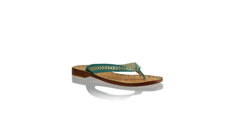 Leather-shoes-Ayu 20mm Flat - Dark Aqua & Gold-sandals flat-NILUH DJELANTIK-NILUH DJELANTIK