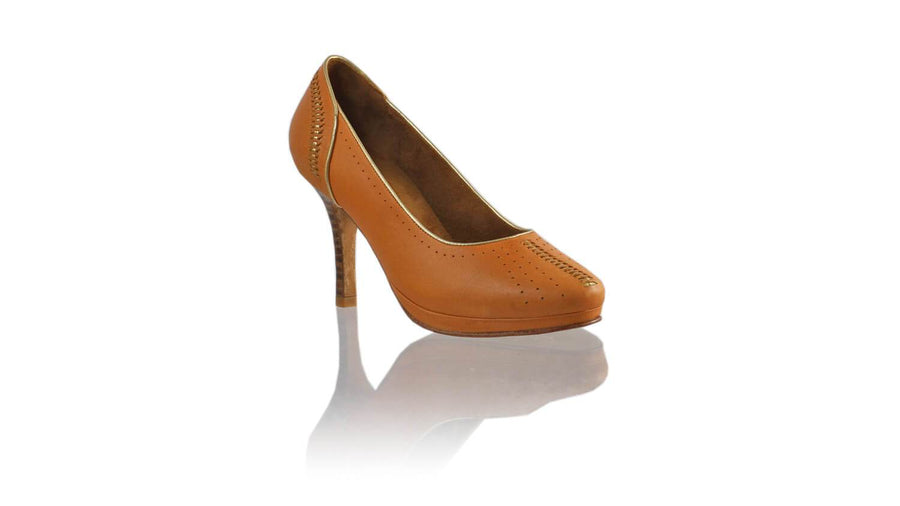 Leather-shoes-Donna 90MM SH PF - Camel & Gold-pumps highheel-NILUH DJELANTIK-NILUH DJELANTIK