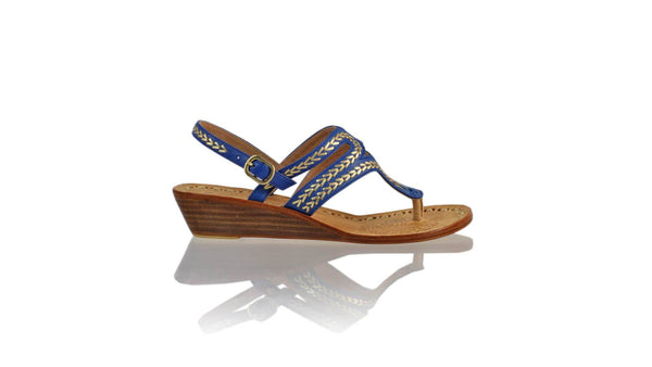 Leather-shoes-Emma 35mm Wedge - Blue & Gold-sandals wedges-NILUH DJELANTIK-NILUH DJELANTIK