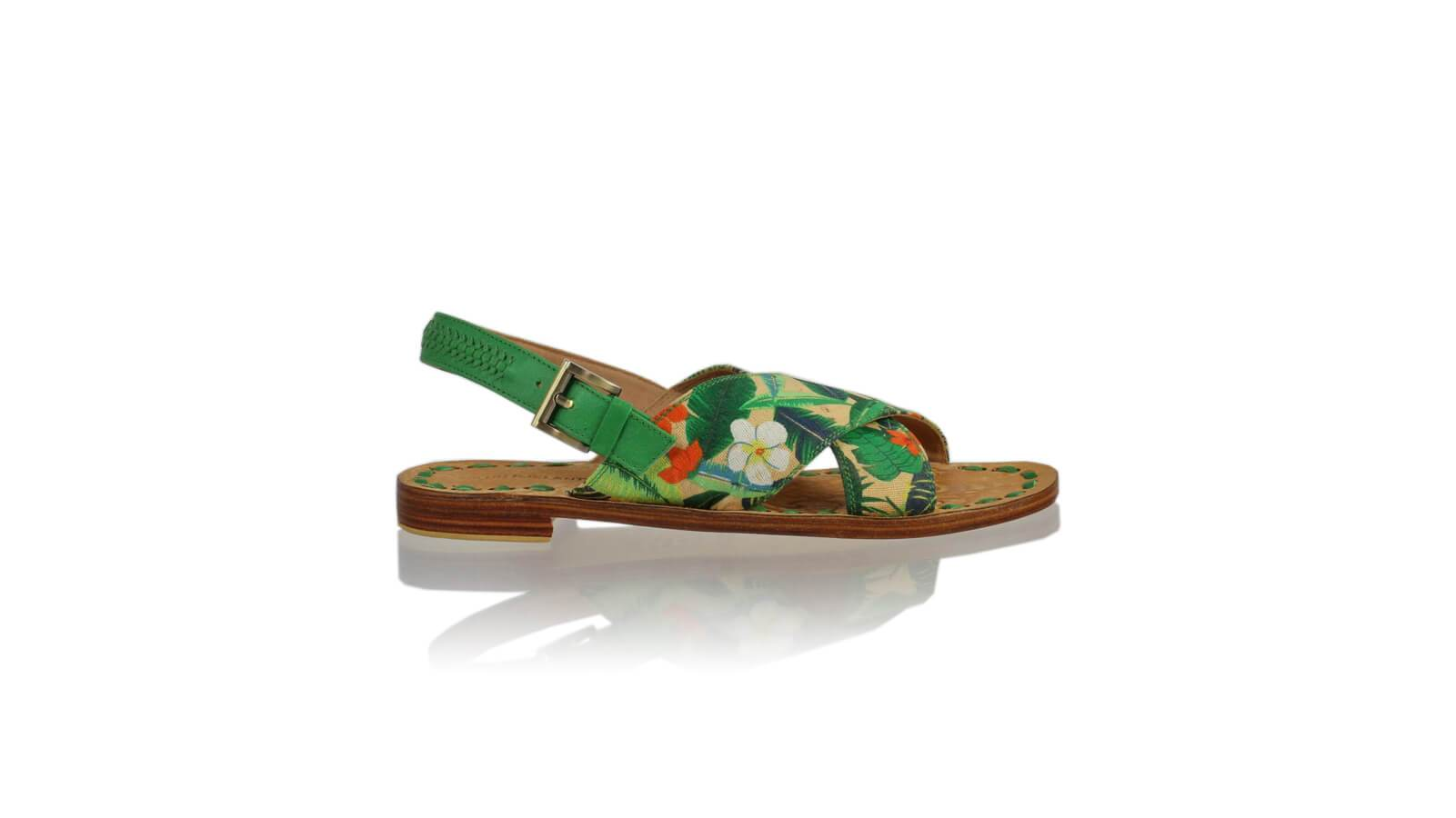 Leather-shoes-Ines Strap 20mm Flat - Green & Multicolor Forest-sandals flat-NILUH DJELANTIK-NILUH DJELANTIK