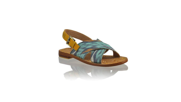 Leather-shoes-Ines Strap 20mm Flat - Yellow & Aqua Grey Handwoven Ikat-sandals flat-NILUH DJELANTIK-NILUH DJELANTIK