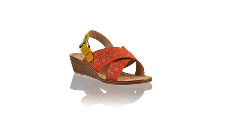 Leather-shoes-Ines Strap 35mm Wedge - Yellow & Orange Handwoven Ikat-sandals Wedge-NILUH DJELANTIK-NILUH DJELANTIK