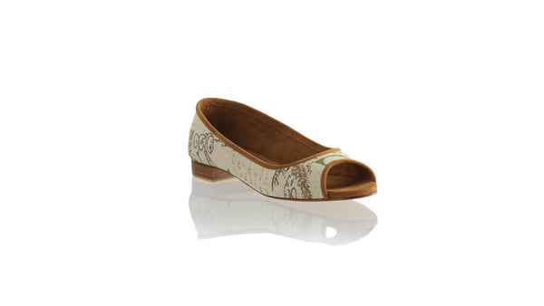 Leather-shoes-Kate Peeptoe 20mm Ballet - Cream News Paper Canvas-flats ballet-NILUH DJELANTIK-NILUH DJELANTIK