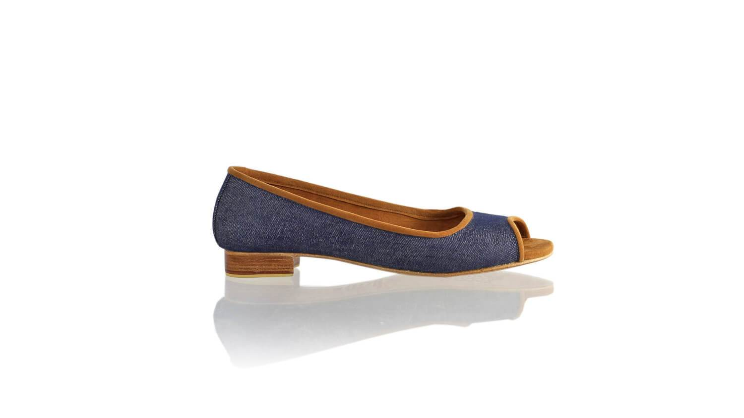 Leather-shoes-Kate Peeptoe 20mm Ballet - Navy Blue Linen-flats ballet-NILUH DJELANTIK-NILUH DJELANTIK