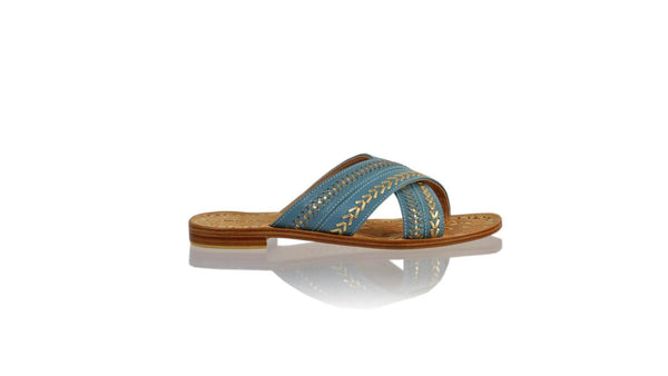 Leather-shoes-Paramita 20mm Flat - Light Blue & Gold-sandals flat-NILUH DJELANTIK-NILUH DJELANTIK
