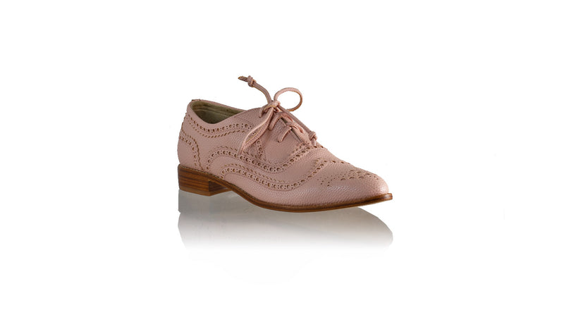 Leather-shoes-Pedro 25mm Flat - Soft Pink Faux Leather-flats laceup-NILUH DJELANTIK-NILUH DJELANTIK