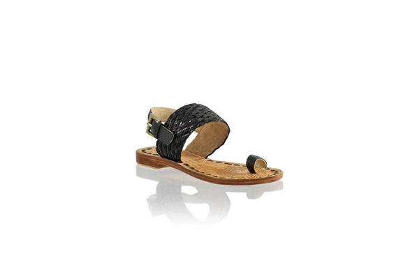 Leather-shoes-Prana 20mm Flat - Black & Black Ribbon New-sandals flat-NILUH DJELANTIK-NILUH DJELANTIK