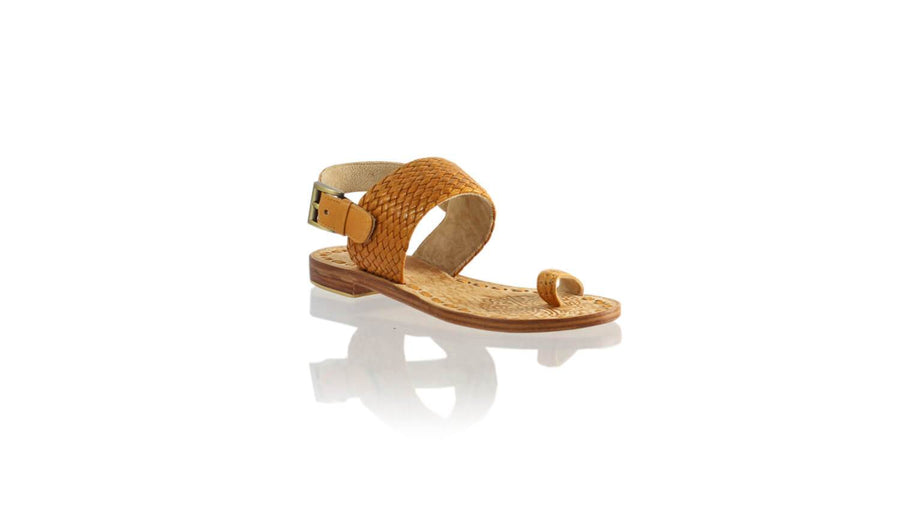 Leather-shoes-Prana 20mm Flat - Camel & Camel Ribbon-sandals flat-NILUH DJELANTIK-NILUH DJELANTIK