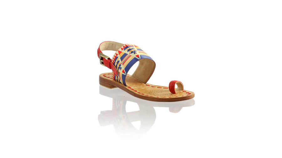 Leather-shoes-Prana 20mm Flat - Red & Multicolor Triangle Ribbon-sandals flat-NILUH DJELANTIK-NILUH DJELANTIK