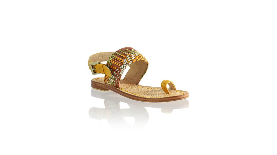Leather-shoes-Prana 20mm Flat - Yellow & Multicolor Ribbon-sandals flat-NILUH DJELANTIK-NILUH DJELANTIK