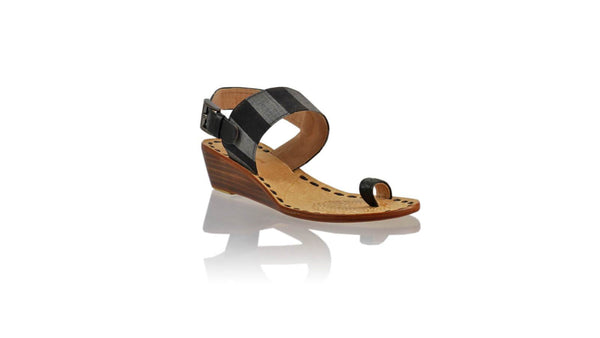 Leather-shoes-Prana 35mm Wedge - Black & Black Grey Line Handwoven Ikat-sandals wedges-NILUH DJELANTIK-NILUH DJELANTIK