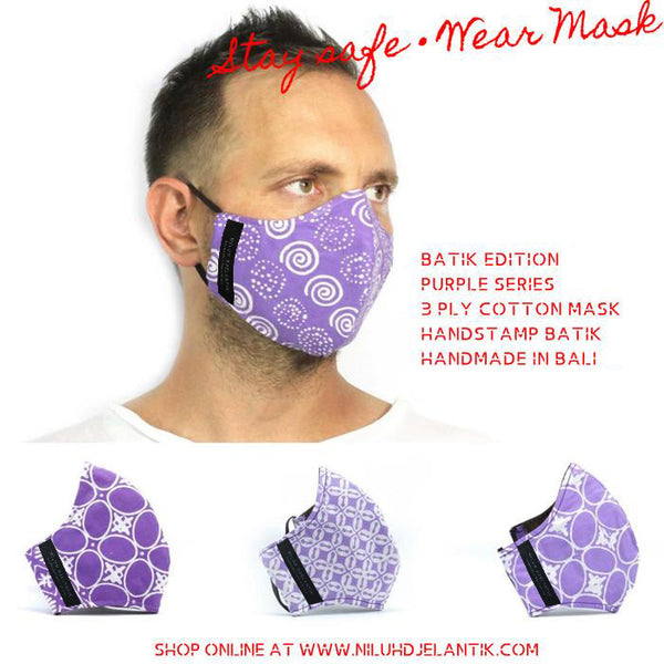 Leather-shoes-Batik 3 PLY cotton mask Set PURPLE SERIES-Accessories-NILUH DJELANTIK-NILUH DJELANTIK