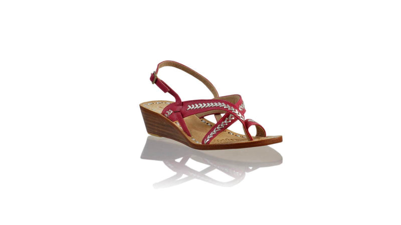 Leather-shoes-Romance 35mm Wedges - Fuschia & Silver-sandals wedges-NILUH DJELANTIK-NILUH DJELANTIK