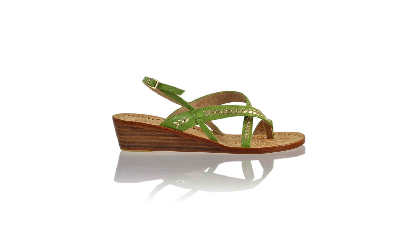 Leather-shoes-Romance 35mm Wedges - Green Bkk & Gold-sandals wedges-NILUH DJELANTIK-NILUH DJELANTIK