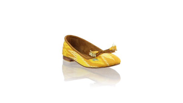 Leather-shoes-Noemi 20mm Ballet - Yellow Handwoven Ikat-flats ballet-NILUH DJELANTIK-NILUH DJELANTIK