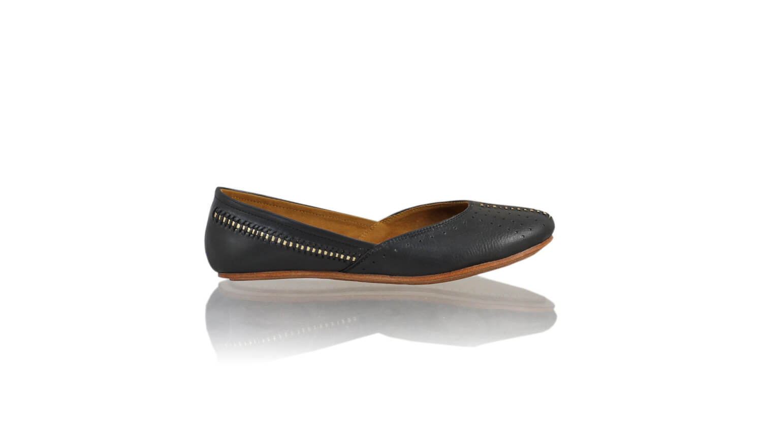 Leather-shoes-Punjab Sulam 5mm Ballet - Black & Gold-flats ballet-NILUH DJELANTIK-NILUH DJELANTIK