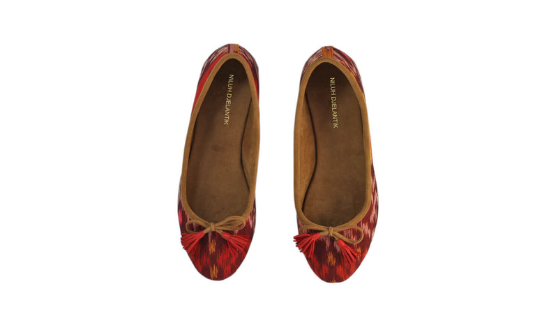 Leather-shoes-Noemi 20mm Ballet - Red & Orange Handwoven Ikat-flats ballet-NILUH DJELANTIK-NILUH DJELANTIK