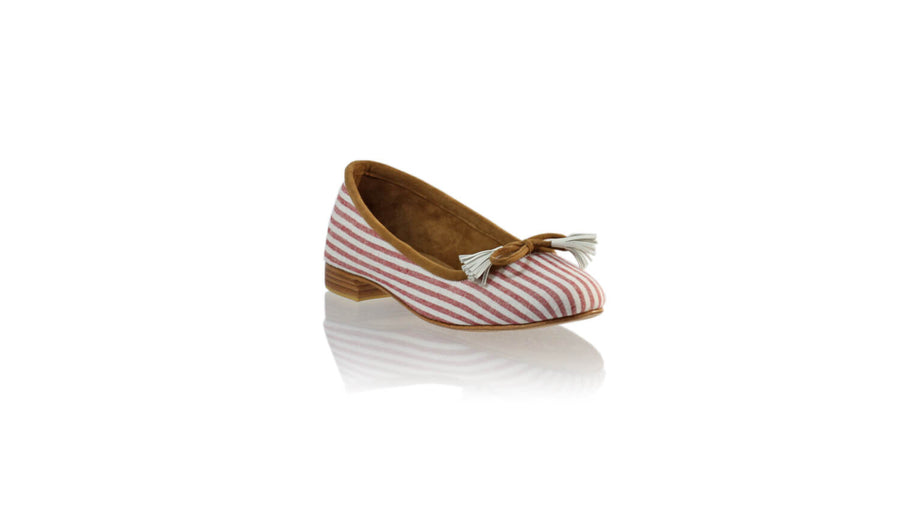 Leather-shoes-Noemi 20mm Ballet - White & Red Line Linen-flats ballet-NILUH DJELANTIK-NILUH DJELANTIK