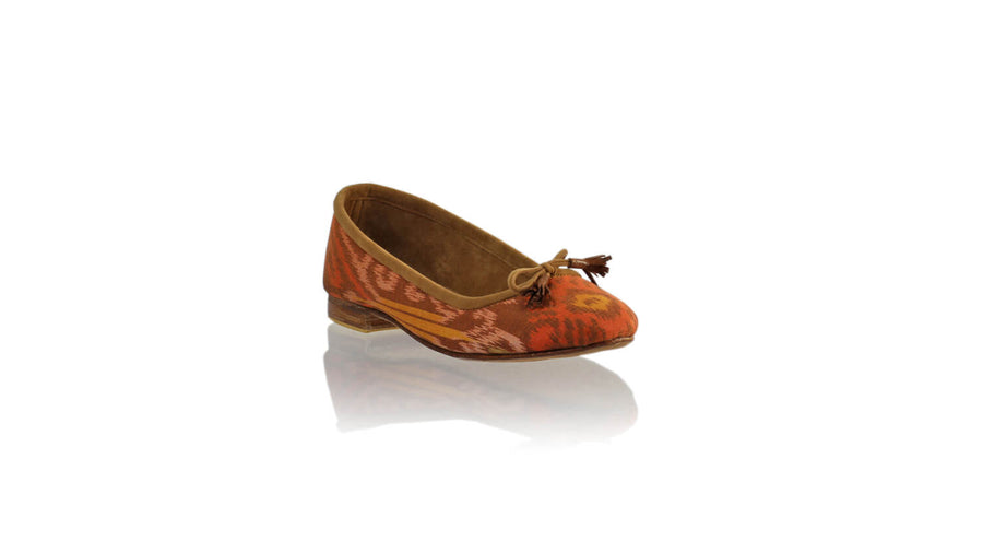 Leather-shoes-Noemi 20mm Ballet - Light Brown Handwoven Ikat-flats ballet-NILUH DJELANTIK-NILUH DJELANTIK